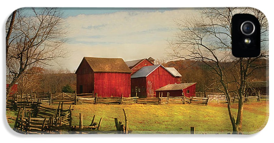 Savad IPhone 5 Case featuring the photograph Farm - Barn - Just Up The Path by Mike Savad