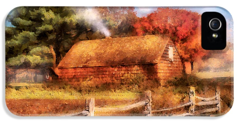Savad IPhone 5 Case featuring the digital art Farm - Barn - Our Cabin by Mike Savad