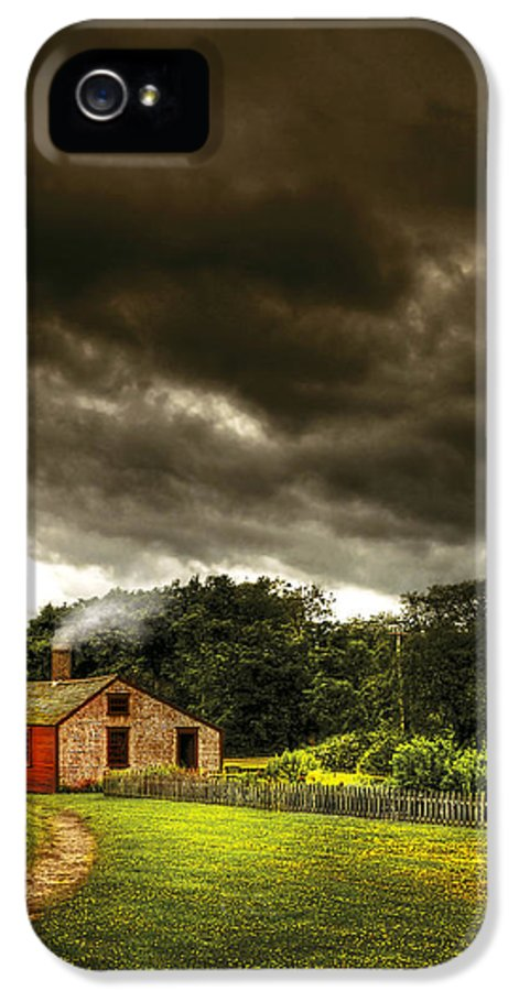 Savad IPhone 5 Case featuring the photograph Farm - Barn - Storms A Comin by Mike Savad