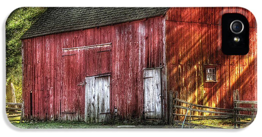 Savad IPhone 5 Case featuring the photograph Farm - Barn - The Old Red Barn by Mike Savad