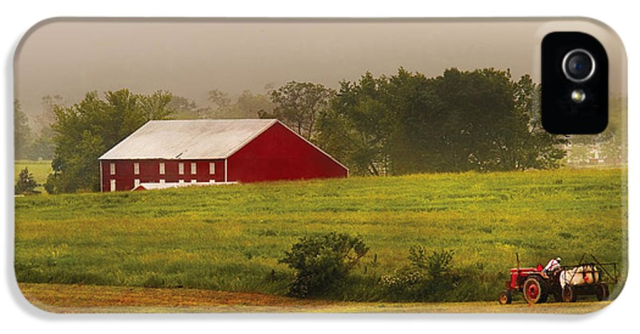 Savad IPhone 5 Case featuring the photograph Farm - Farmer - Tilling The Fields by Mike Savad