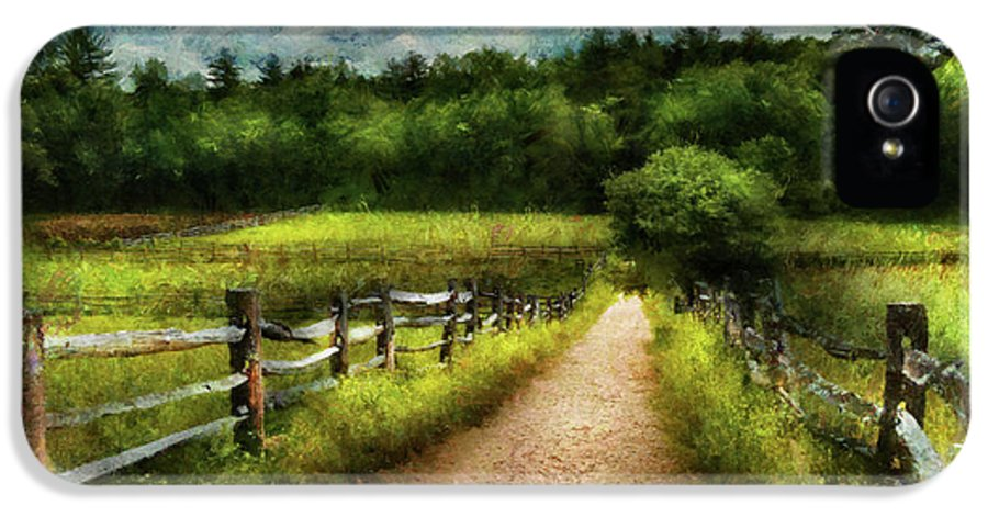 Suburbanscenes IPhone 5 Case featuring the photograph Farm - Fence - Every Journey Starts With A Path by Mike Savad