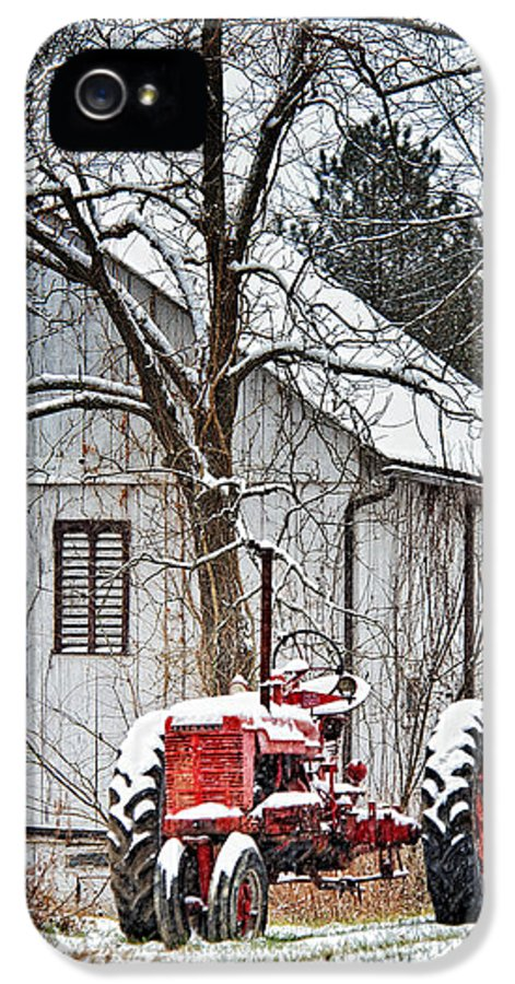 Farmall Tractor IPhone 5 Case featuring the photograph Farmall Tractor In Winter by Timothy Flanigan
