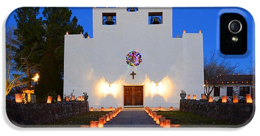 Saint Francis De Paula Mission IPhone 5 Case featuring the photograph Farolitos Saint Francis De Paula Mission by Bob Christopher