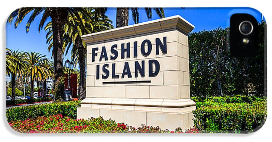 America IPhone 5 Case featuring the photograph Fashion Island Sign In Newport Beach California by Paul Velgos