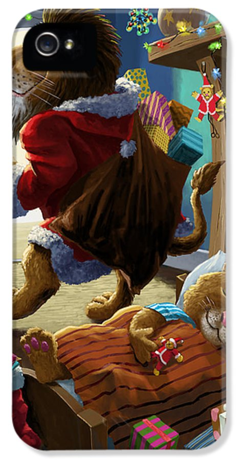 Christmas IPhone 5 Case featuring the digital art Father Christmas Lion Delivering Presents by Martin Davey