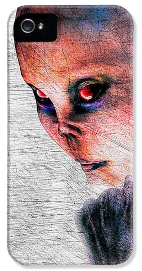 Alien Abduction IPhone 5 Case featuring the digital art Female Alien Portrait by Bob Orsillo