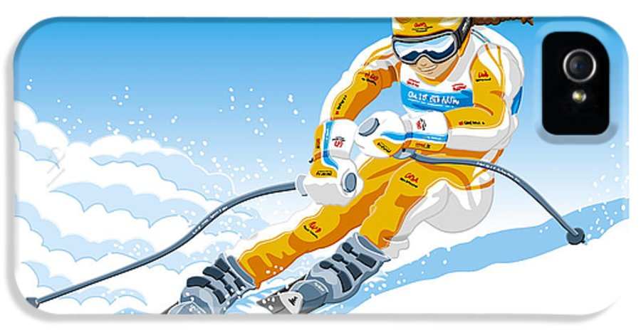 Skiing IPhone 5 Case featuring the drawing Female Downhill Skier Winter Sport by Frank Ramspott