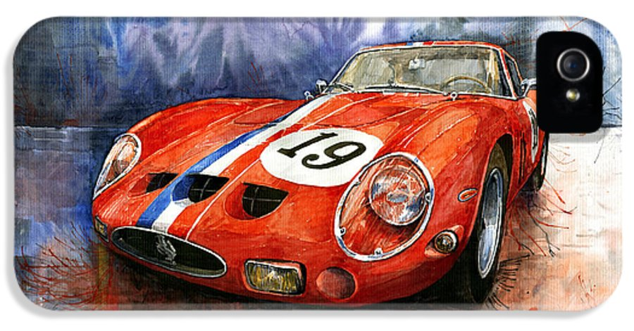 Watercolour IPhone 5 Case featuring the painting Ferrari 250 Gto 1963 by Yuriy Shevchuk