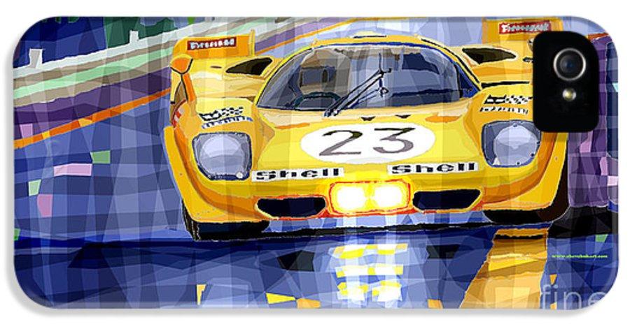 Automotive IPhone 5 Case featuring the digital art Ferrari 512 S Spa 1970 Derek Bell by Yuriy Shevchuk