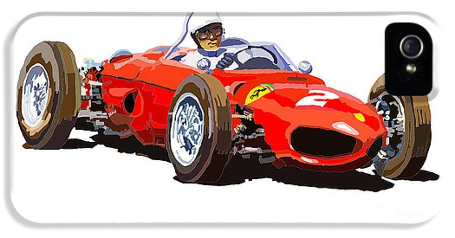 Ferrari Dino 156 IPhone 5 Case featuring the digital art Ferrari Dino 156 1962 by Yuriy Shevchuk