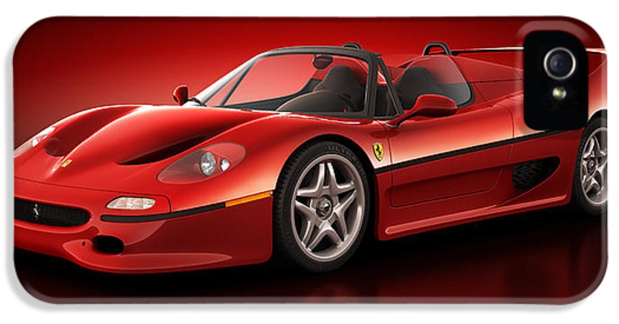 Transportation IPhone 5 Case featuring the digital art Ferrari F50 - Flare by Marc Orphanos