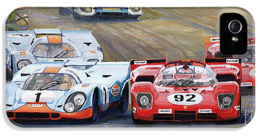 Acrilic On Canvas IPhone 5 Case featuring the painting Ferrari Vs Porsche 1970 Watkins Glen 6 Hours by Yuriy Shevchuk