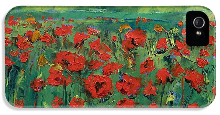 Field IPhone 5 Case featuring the painting Field Of Red Poppies by Michael Creese