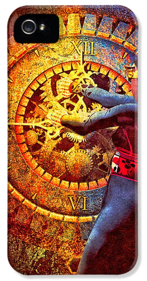 Clock IPhone 5 Case featuring the digital art Fifteen Minutes by Bob Orsillo