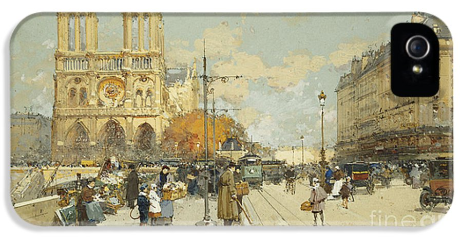 19th Century Painting IPhone 5 Case featuring the painting Figures On A Sunny Parisian Street Notre Dame At Left by Eugene Galien-Laloue