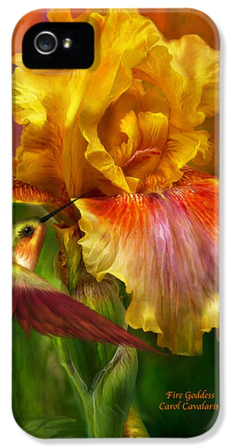 Iris Art IPhone 5 Case featuring the mixed media Fire Goddess by Carol Cavalaris
