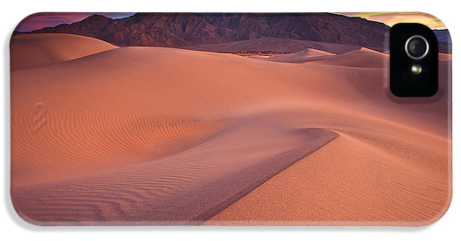 Death Valley IPhone 5 Case featuring the photograph Fire On Mesquite Dunes by Darren White
