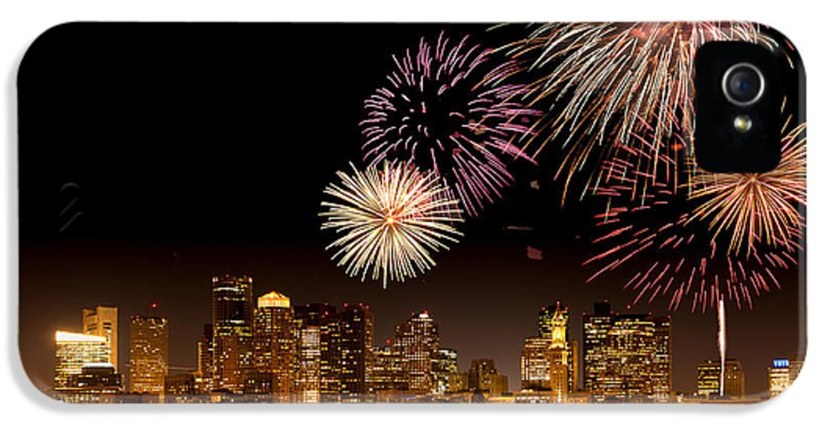 4th Of July IPhone 5 Case featuring the photograph Fireworks Over Boston Harbor by Susan Cole Kelly
