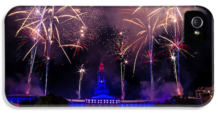 4th IPhone 5 Case featuring the photograph Fireworks Over Denver City And County Building by Teri Virbickis