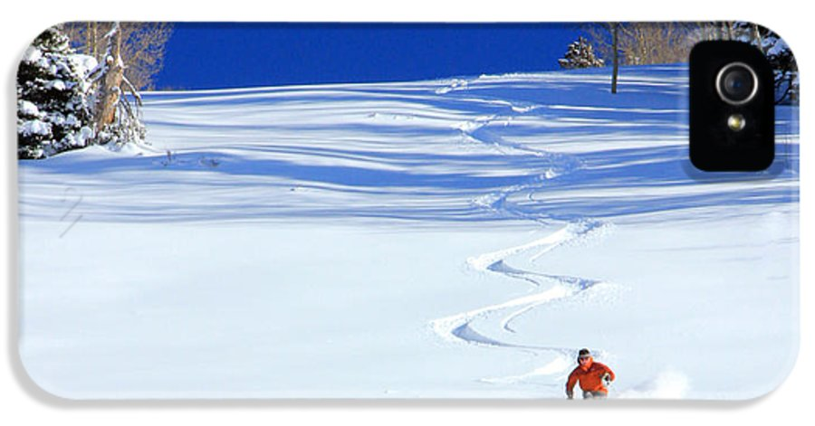 Skiing IPhone 5 Case featuring the photograph First Tracks by Johnny Adolphson