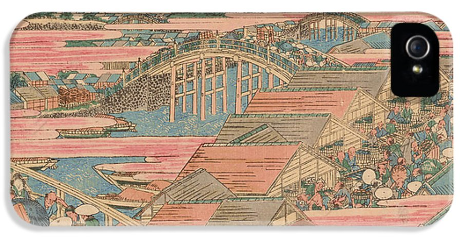 Orient IPhone 5 Case featuring the painting Fish Market By River In Edo At Nihonbashi Bridge by Hokusai