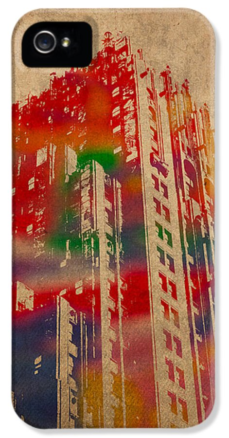 Fisher IPhone 5 Case featuring the mixed media Fisher Building Iconic Buildings Of Detroit Watercolor On Worn Canvas Series Number 4 by Design Turnpike