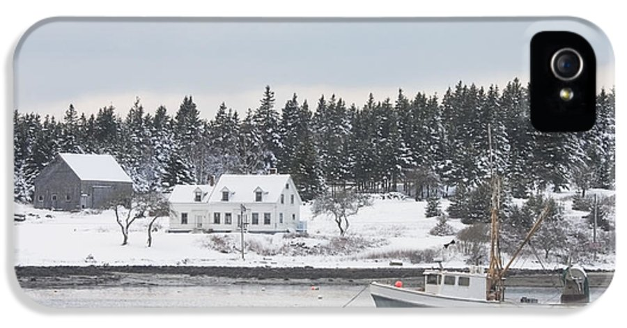 Port Clyde IPhone 5 Case featuring the photograph Fishing Boat After Snowstorm In Port Clyde Harbor Maine by Keith Webber Jr