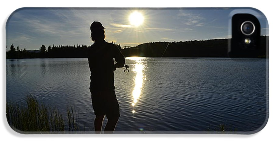 Fishing IPhone 5 Case featuring the photograph Fishing In The Sunset by Per Kristiansen
