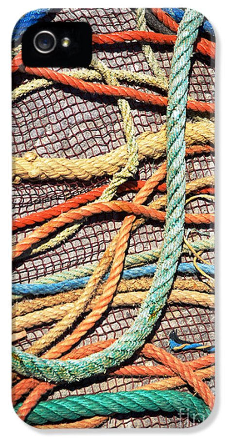 Abstract IPhone 5 Case featuring the photograph Fishing Ropes And Net by Carlos Caetano