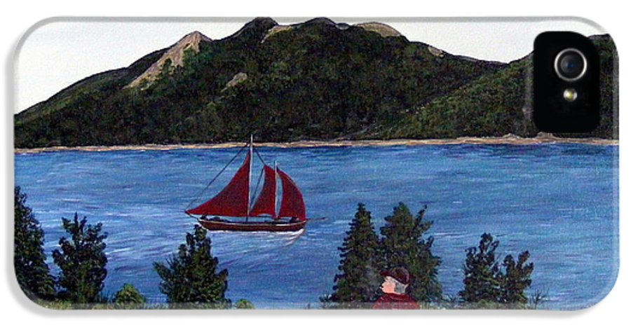 Ship IPhone 5 Case featuring the painting Fishing Schooner by Barbara Griffin