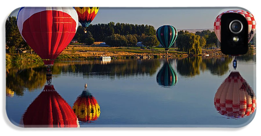 Balloons IPhone 5 Case featuring the photograph Five Aloft by Mike Dawson