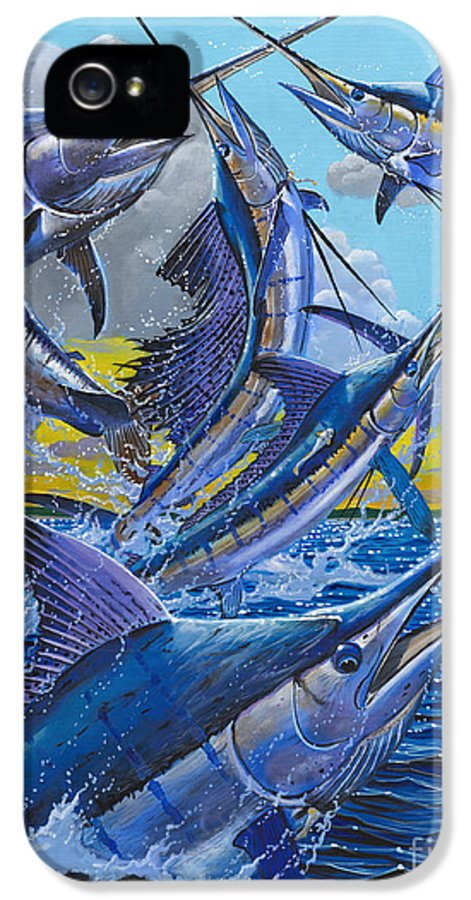 Billfish IPhone 5 Case featuring the painting Five Billfish Off00136 by Carey Chen