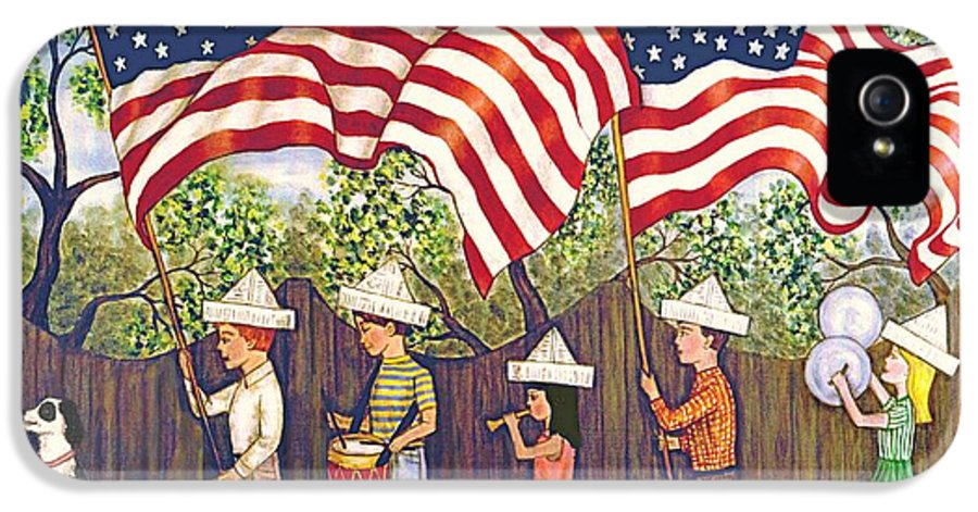 Folk Art Patriotic IPhone 5 Case featuring the painting Flags by Linda Mears