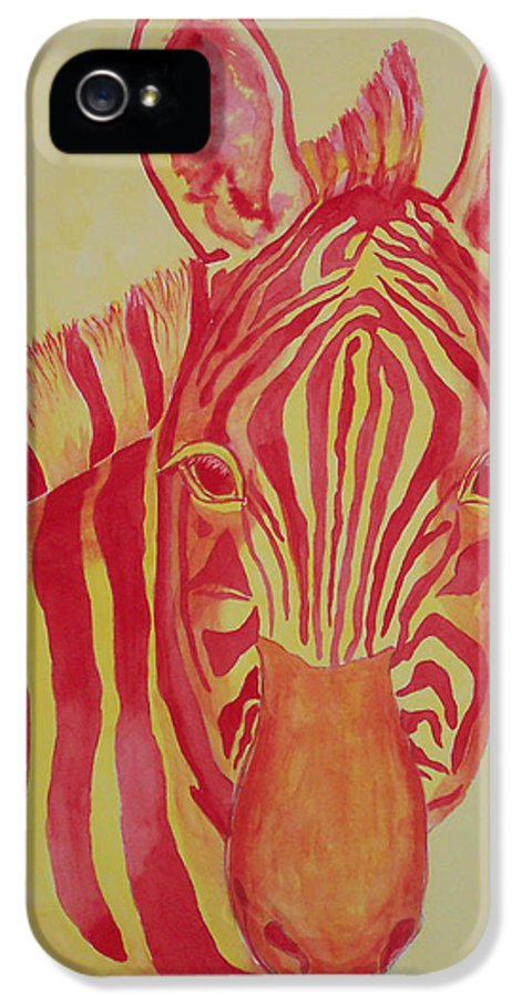 Zebra IPhone 5 Case featuring the painting Flame by Rhonda Leonard