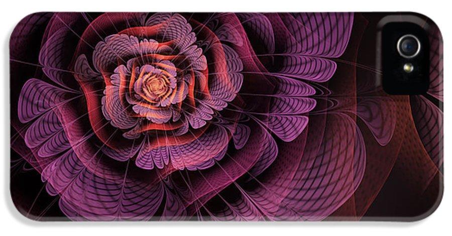 Purple Fractal Flower IPhone 5 Case featuring the digital art Fleur Pourpre by John Edwards