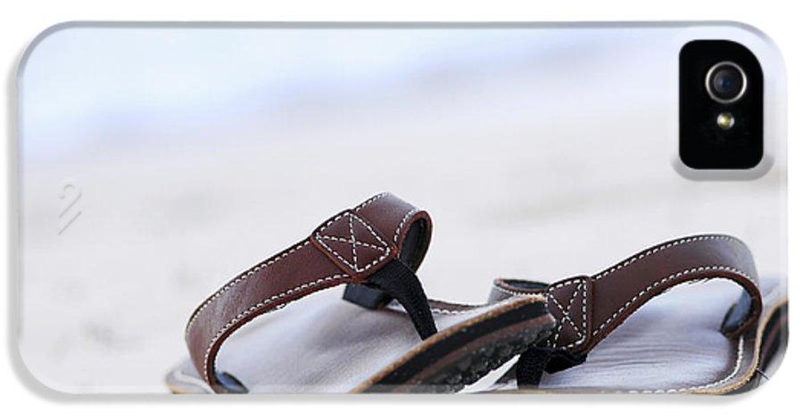 Flip-flops IPhone 5 Case featuring the photograph Flip-flops On Beach by Elena Elisseeva