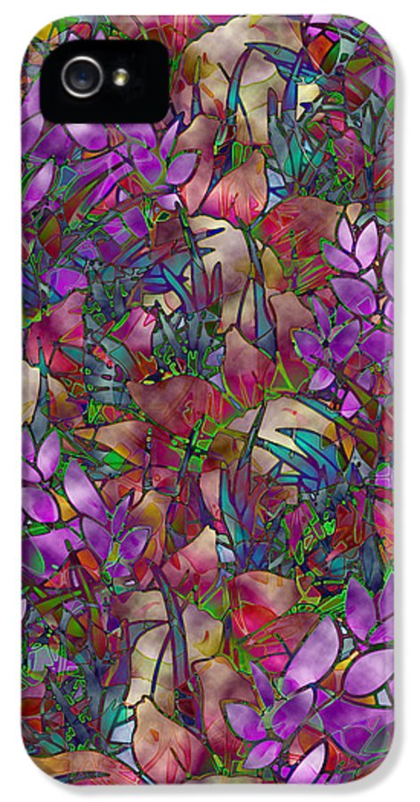 Art IPhone 5 Case featuring the glass art Floral Abstract Stained Glass by Medusa GraphicArt