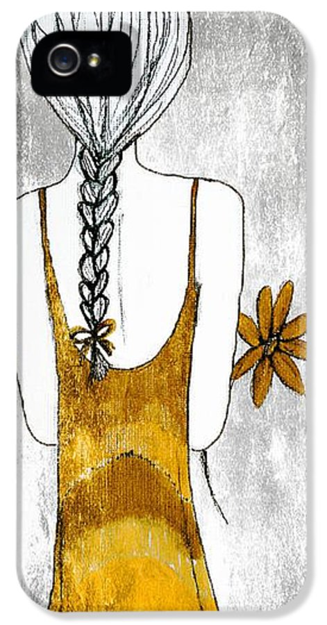 Girl IPhone 5 Case featuring the painting Flower Girl 2 by Anne Costello