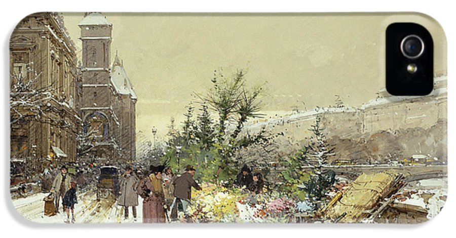19th Century IPhone 5 Case featuring the painting Flower Market Marche Aux Fleurs by Eugene Galien-Laloue