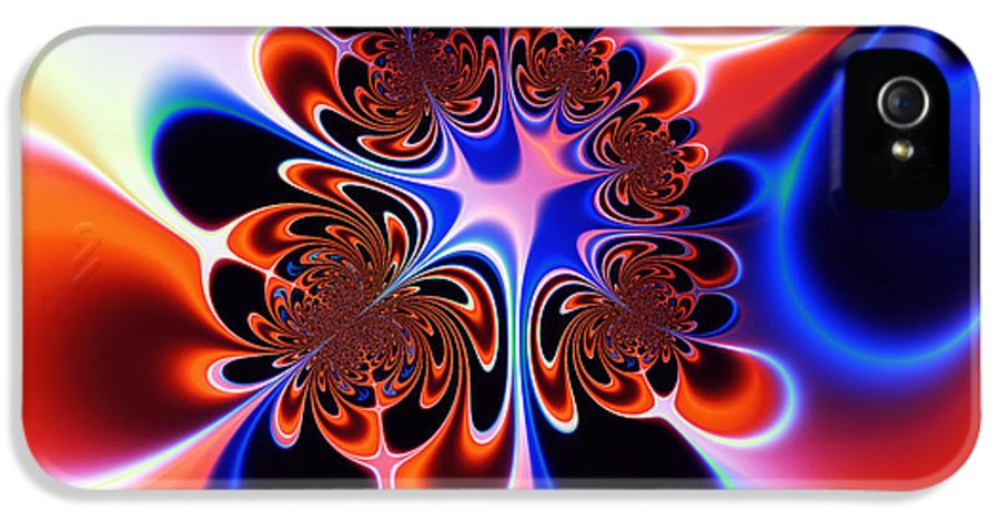 Abstract IPhone 5 Case featuring the digital art Flower Power by Ian Mitchell