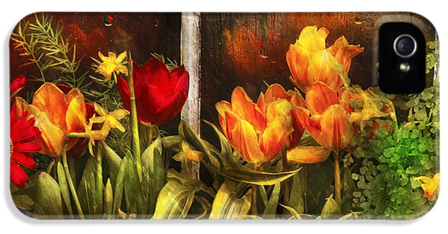 Savad IPhone 5 Case featuring the photograph Flower - Tulip - Tulips In A Window by Mike Savad