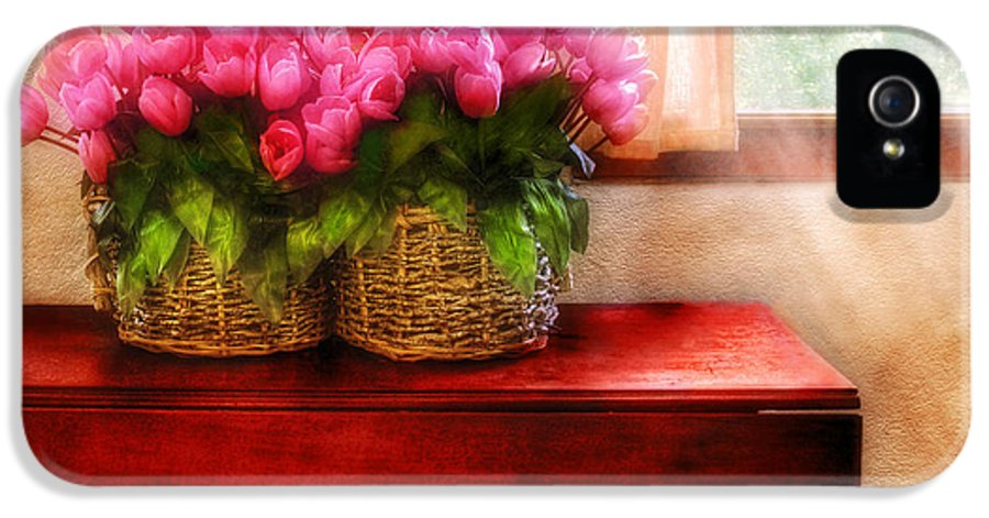 Savad IPhone 5 Case featuring the photograph Flower - Tulips By A Window by Mike Savad