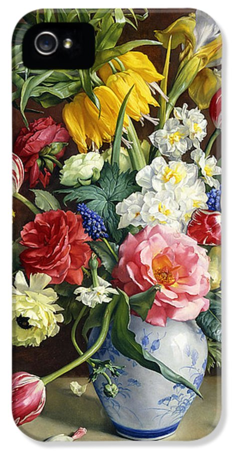 19th Century Painting IPhone 5 Case featuring the painting Flowers In A Blue And White Vase by R Klausner