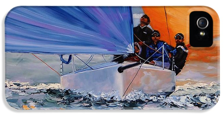 Sailing IPhone 5 Case featuring the painting Flying Colors Two by Laura Lee Zanghetti
