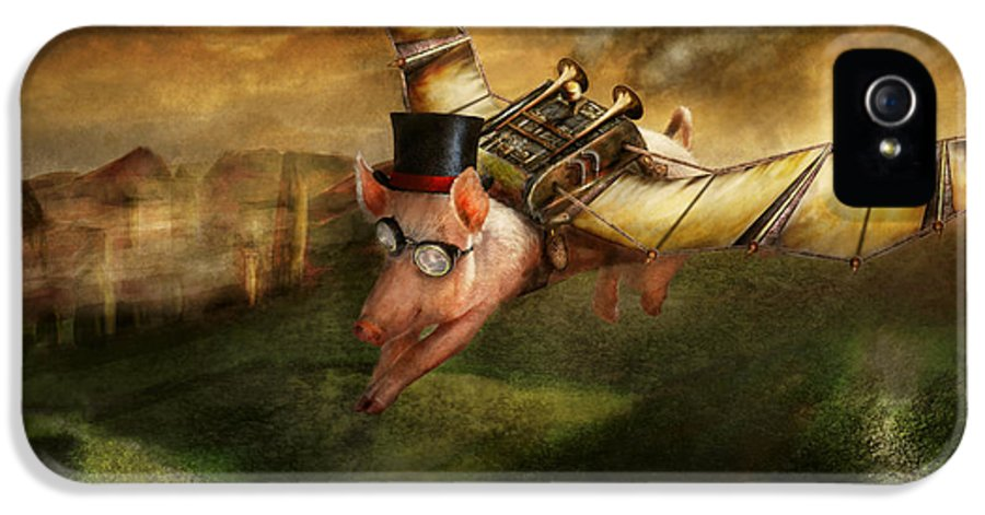 Pig IPhone 5 Case featuring the photograph Flying Pig - Steampunk - The Flying Swine by Mike Savad