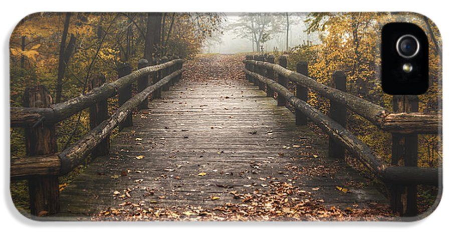 Bridge IPhone 5 Case featuring the photograph Foggy Lake Park Footbridge by Scott Norris
