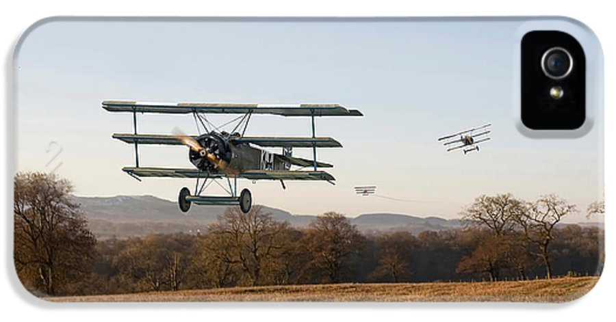 Aircraft IPhone 5 Case featuring the digital art Fokker Dr1 - Day's End by Pat Speirs