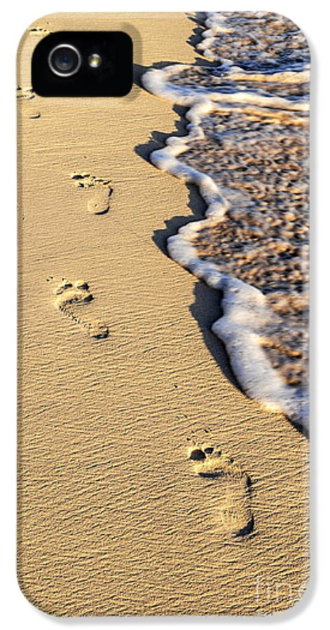 Footprints IPhone 5 Case featuring the photograph Footprints On Beach by Elena Elisseeva
