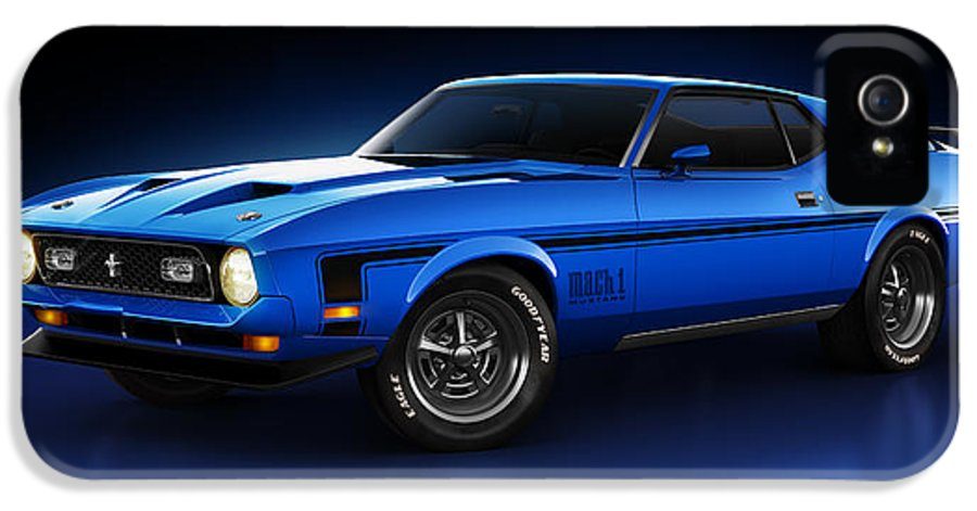 Transportation IPhone 5 / 5s Case featuring the digital art Ford Mustang Mach 1 - Slipstream by Marc Orphanos